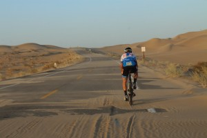 Deep sand on the road at Imperial Sand Dunes Recreational Area